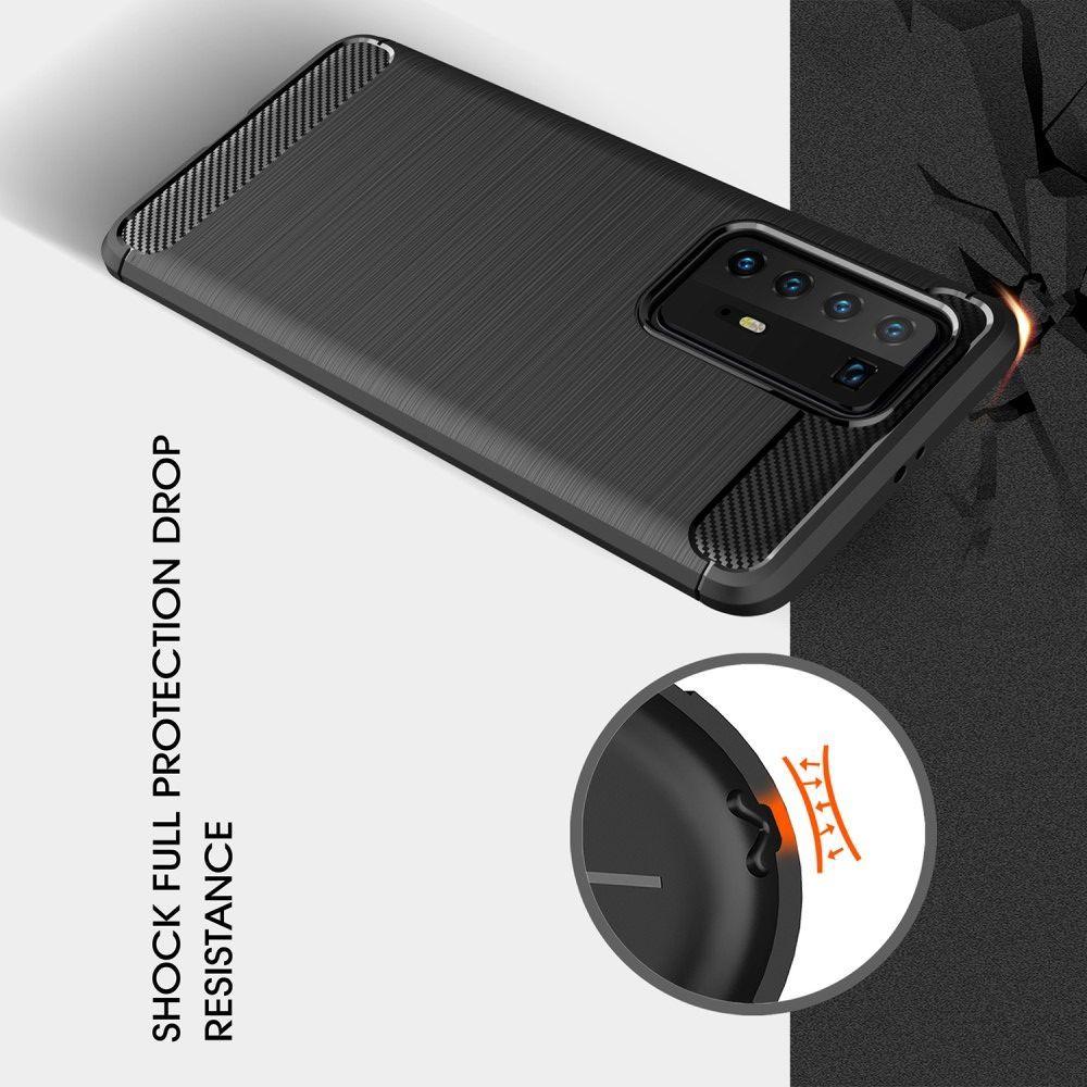 Carbon Fibre Силиконовый матовый бампер чехол для Huawei P40 Pro Черный