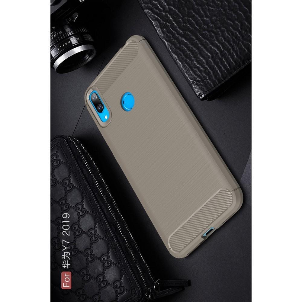 Carbon Fibre Силиконовый матовый бампер чехол для Huawei Y7 2019 Серый