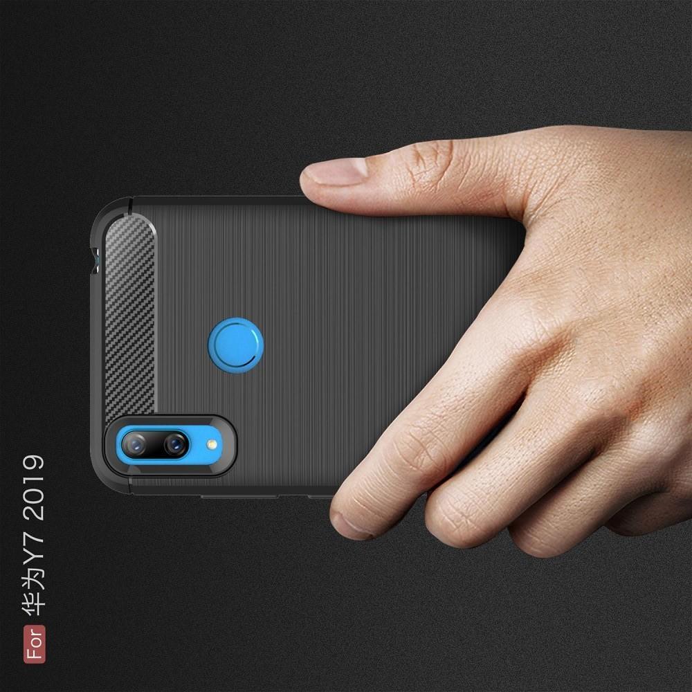 Carbon Fibre Силиконовый матовый бампер чехол для Huawei Y7 2019 Черный
