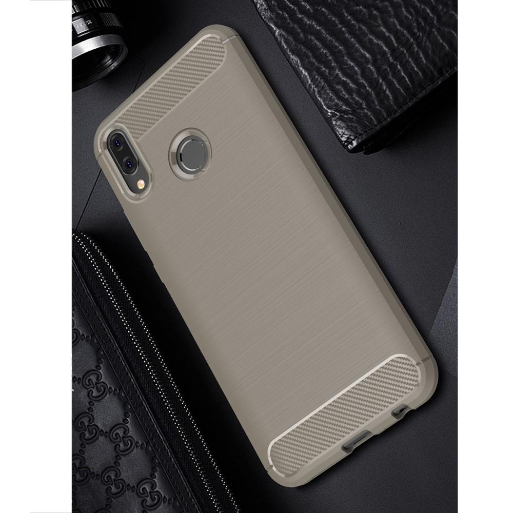 Carbon Fibre Силиконовый матовый бампер чехол для Huawei Y9 2019 Серый