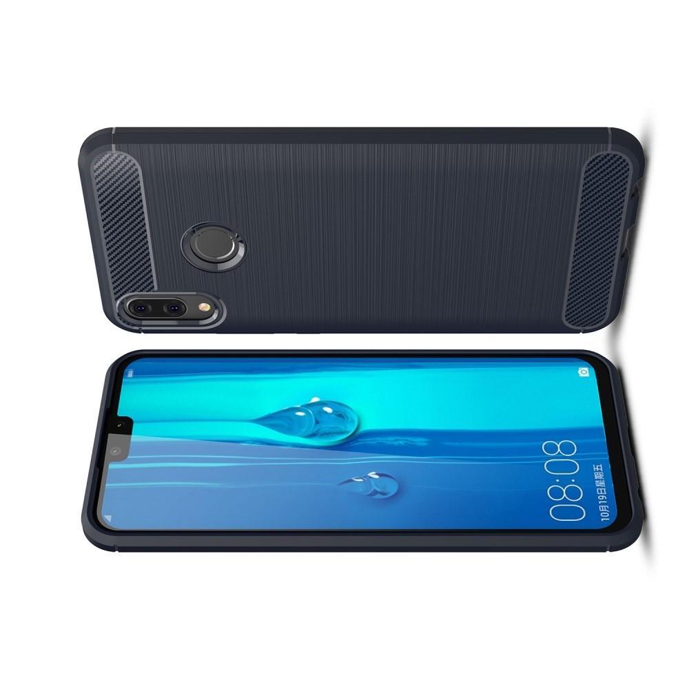 Carbon Fibre Силиконовый матовый бампер чехол для Huawei Y9 2019 Синий