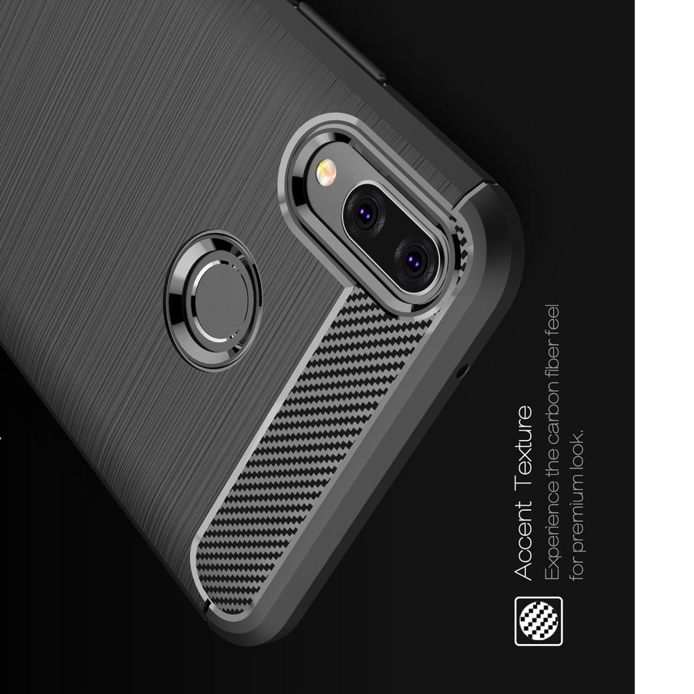 Carbon Fibre Силиконовый матовый бампер чехол для Huawei Y9 2019 Черный