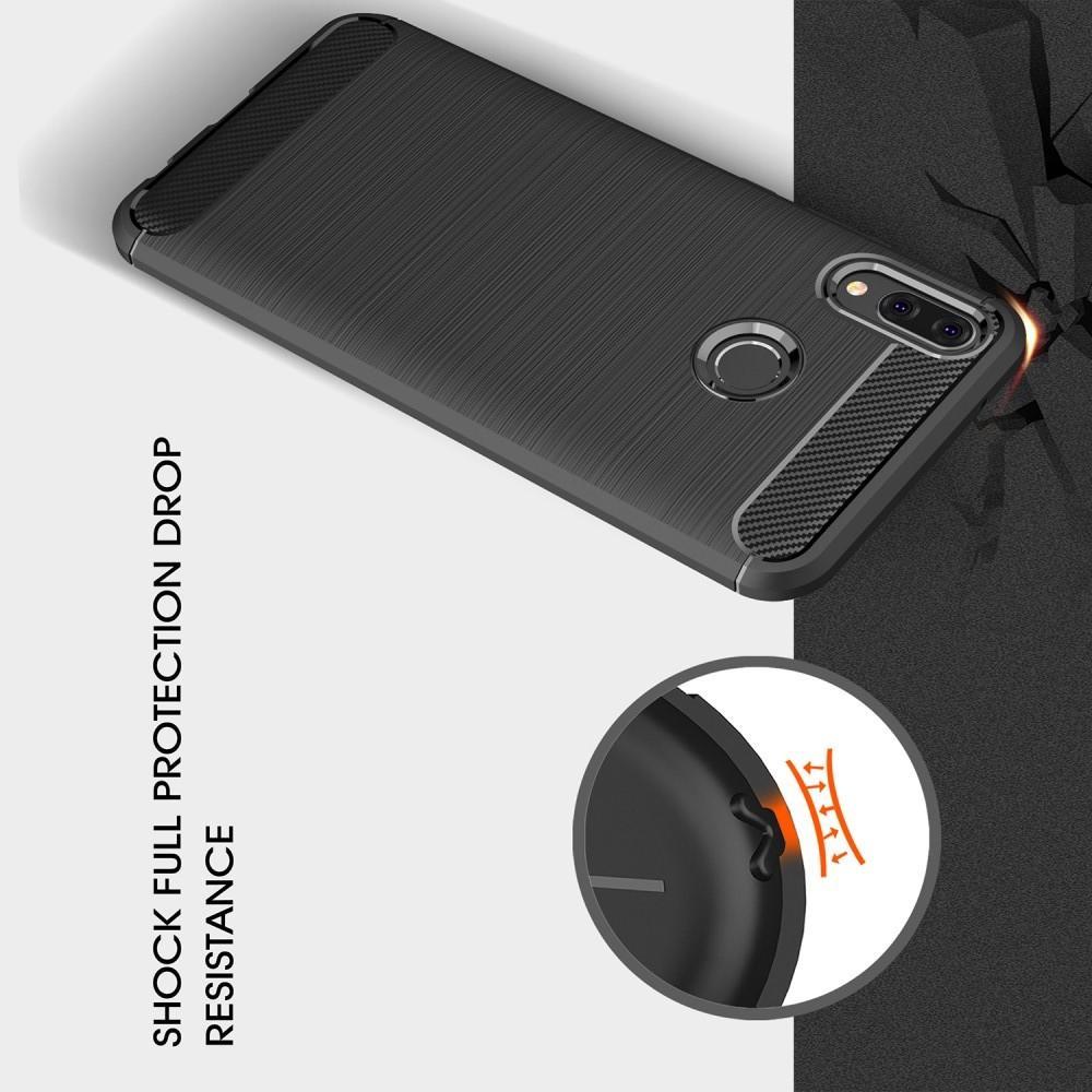 Carbon Fibre Силиконовый матовый бампер чехол для Huawei Y9 2019 Коралловый