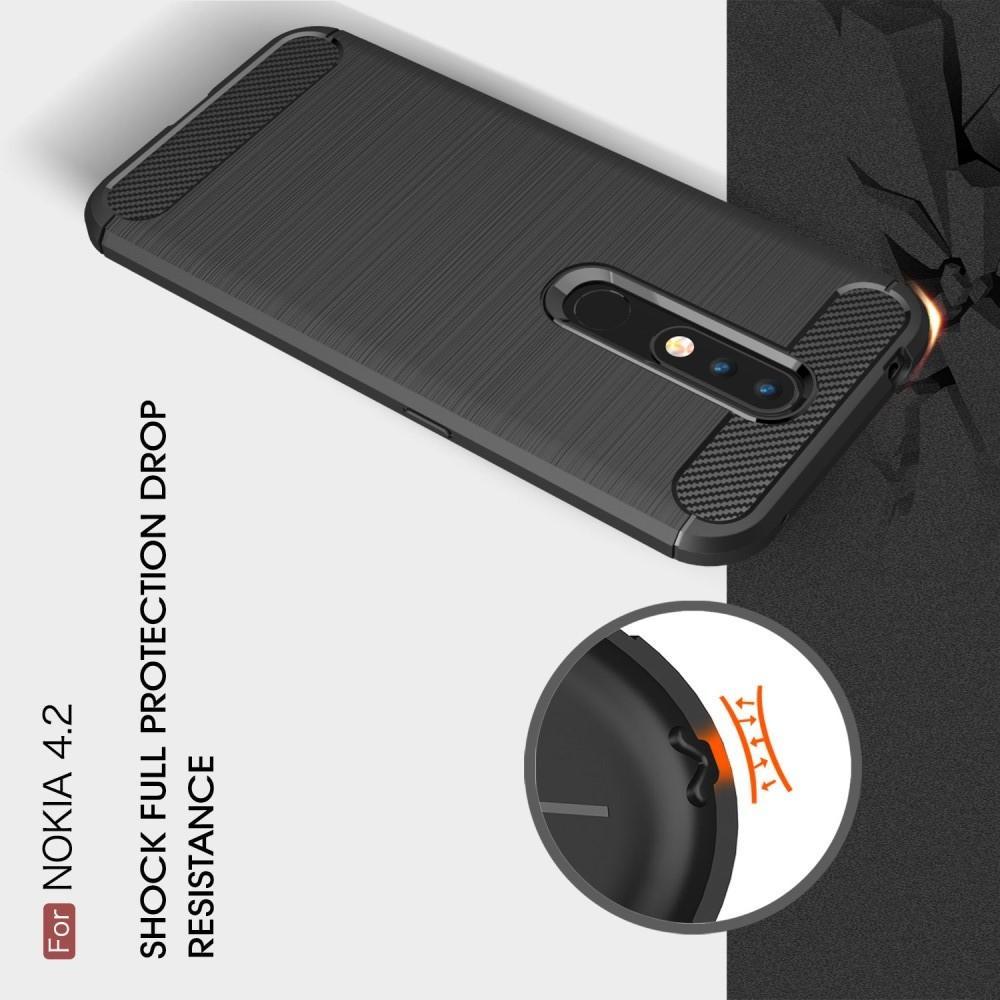 Carbon Fibre Силиконовый матовый бампер чехол для Nokia 4.2 Коралловый