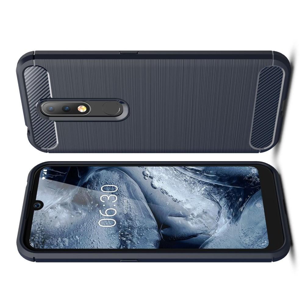 Carbon Fibre Силиконовый матовый бампер чехол для Nokia 4.2 Синий