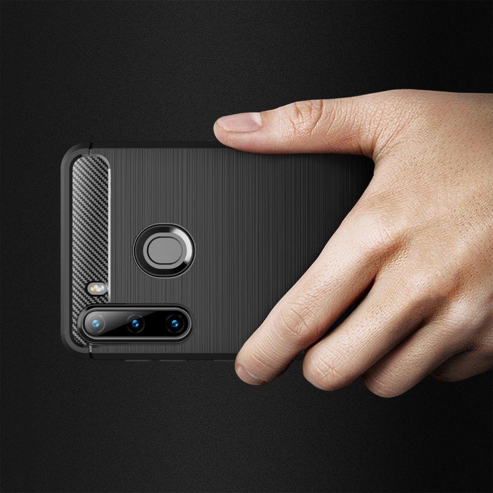 Carbon Fibre Силиконовый матовый бампер чехол для Samsung Galaxy A21 Черный