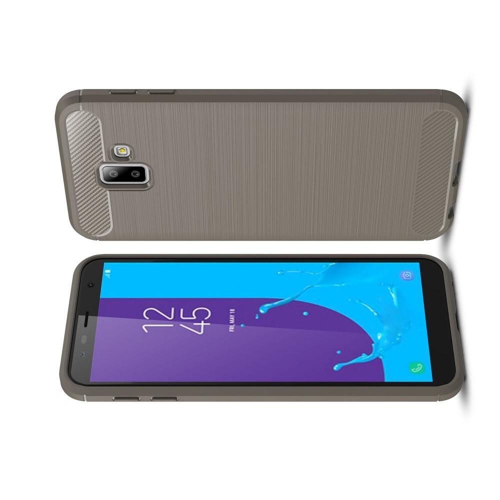 Carbon Fibre Силиконовый матовый бампер чехол для Samsung Galaxy J6+ 2018 SM-J610F Серый