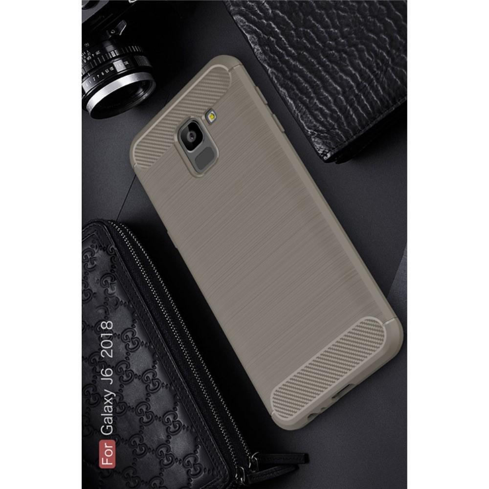 Carbon Fibre Силиконовый матовый бампер чехол для Samsung Galaxy J6 SM-J600 Серый