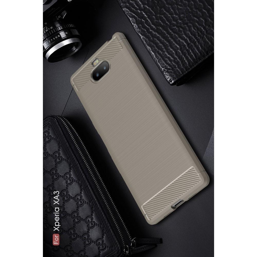 Carbon Fibre Силиконовый матовый бампер чехол для Sony Xperia 10 Серый