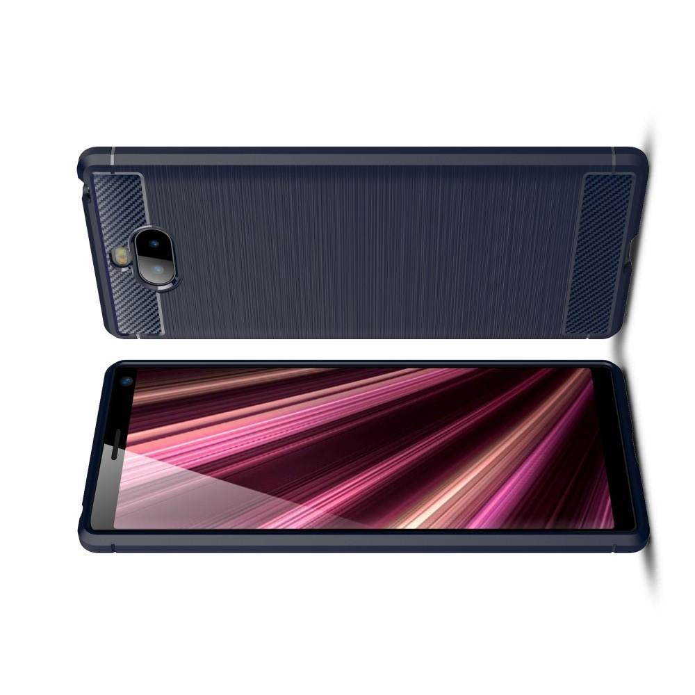 Carbon Fibre Силиконовый матовый бампер чехол для Sony Xperia 10 Plus Синий