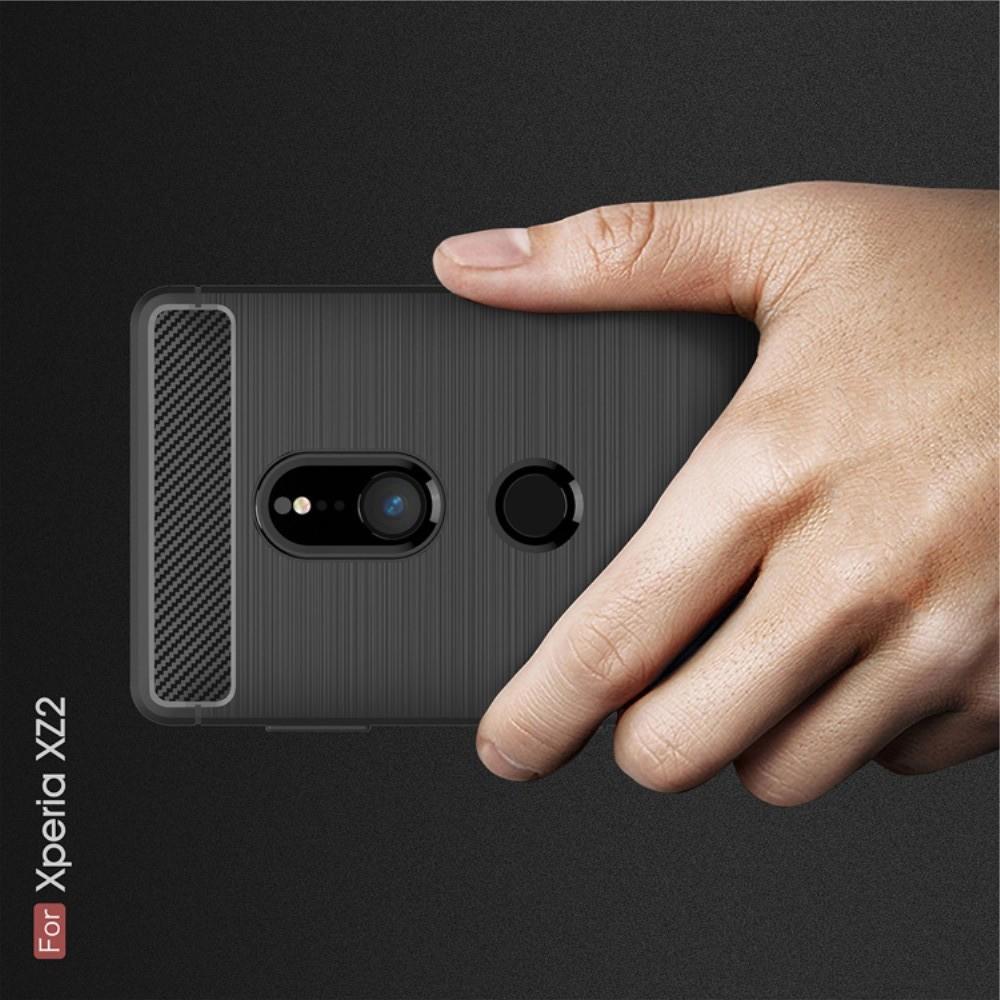 Carbon Fibre Силиконовый матовый бампер чехол для Sony Xperia XZ2 Черный