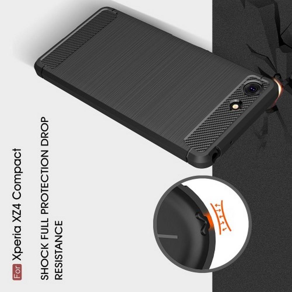 Carbon Fibre Силиконовый матовый бампер чехол для Sony Xperia XZ4 Compact Коралловый