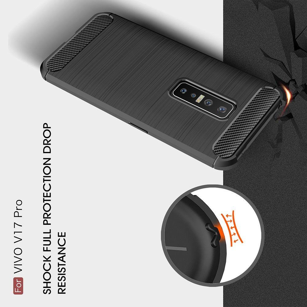 Carbon Fibre Силиконовый матовый бампер чехол для vivo V17 Pro Черный