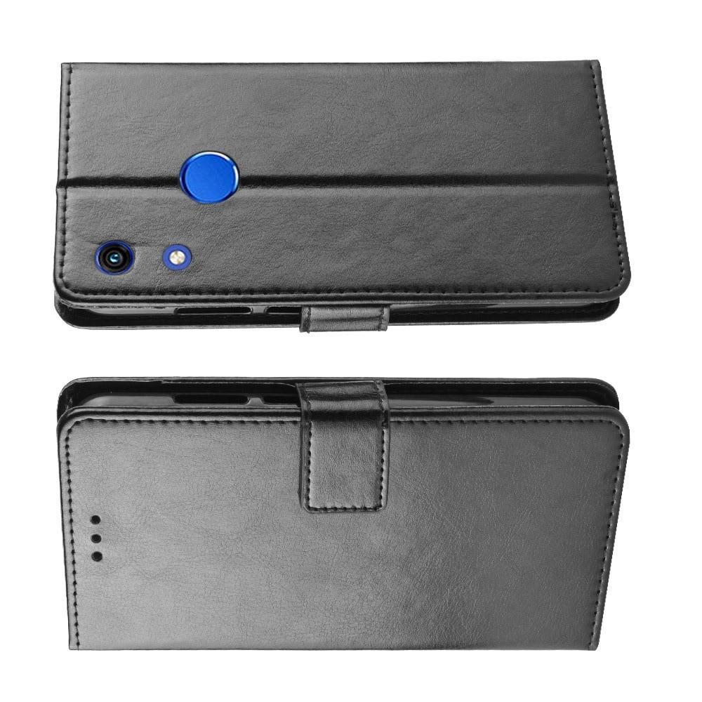 Чехол Книжка из Гладкой Искусственной Кожи для Huawei Honor 8A Pro с Кошельком для Карты Черный