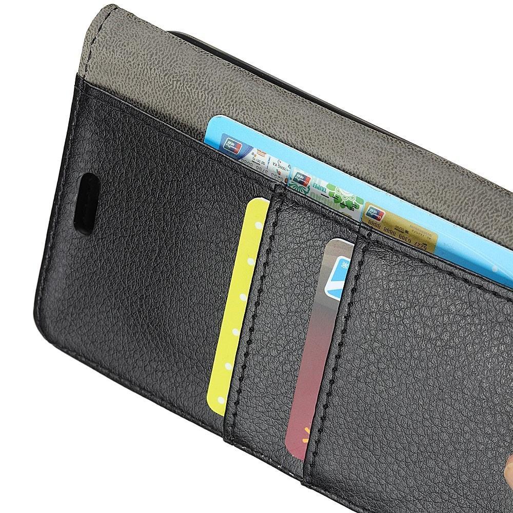 Чехол Книжка из Гладкой Искусственной Кожи для Huawei Honor 8A с Кошельком для Карты Черный