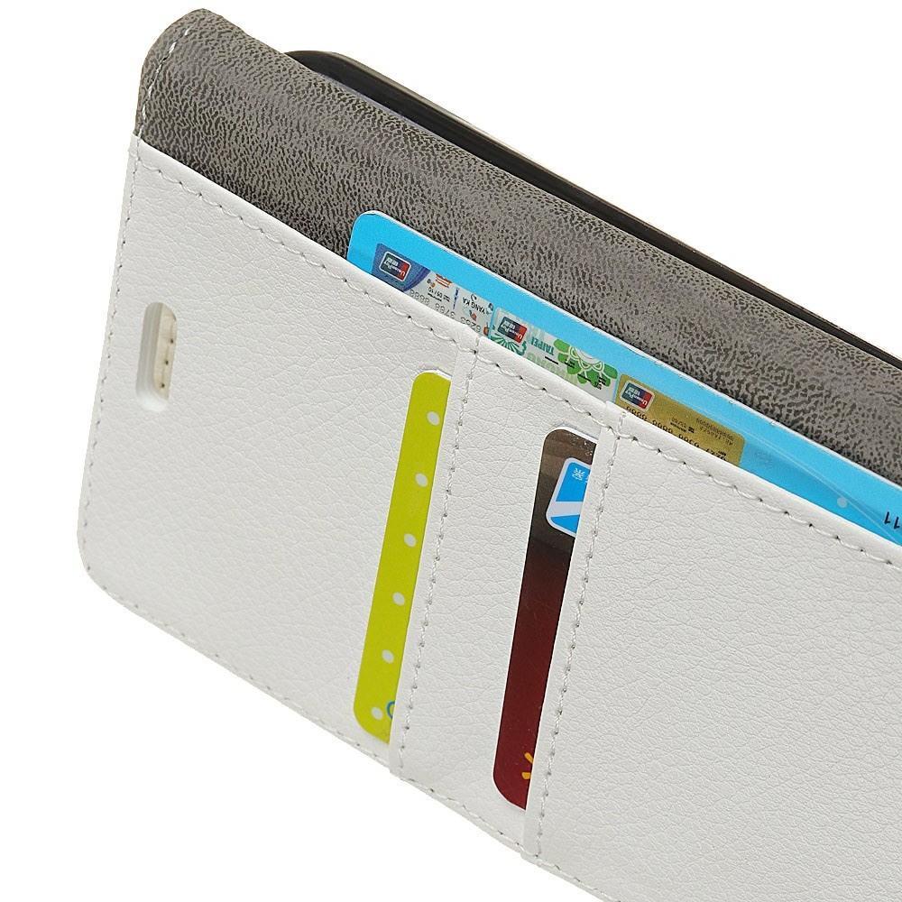 Чехол Книжка из Гладкой Искусственной Кожи для Huawei Honor 8A с Кошельком для Карты Белый