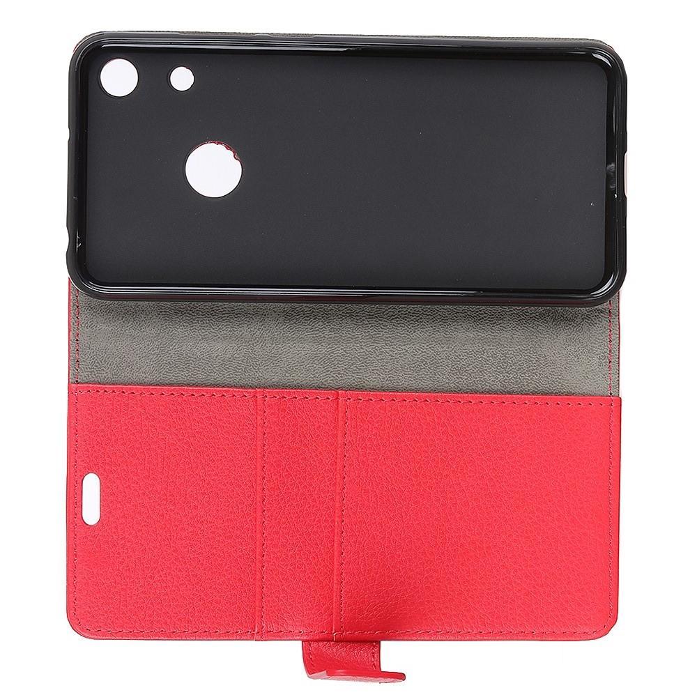 Чехол Книжка из Гладкой Искусственной Кожи для Huawei Honor 8A с Кошельком для Карты Красный