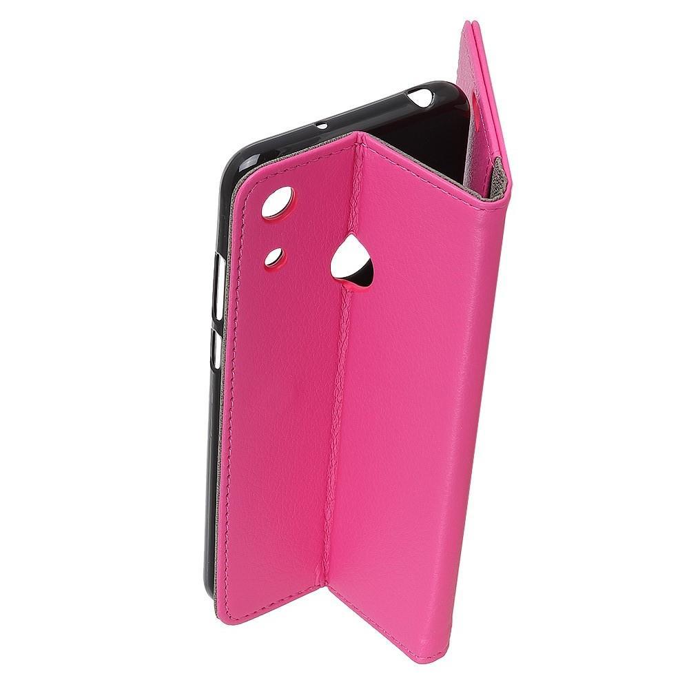 Чехол Книжка из Гладкой Искусственной Кожи для Huawei Honor 8A с Кошельком для Карты Розовый