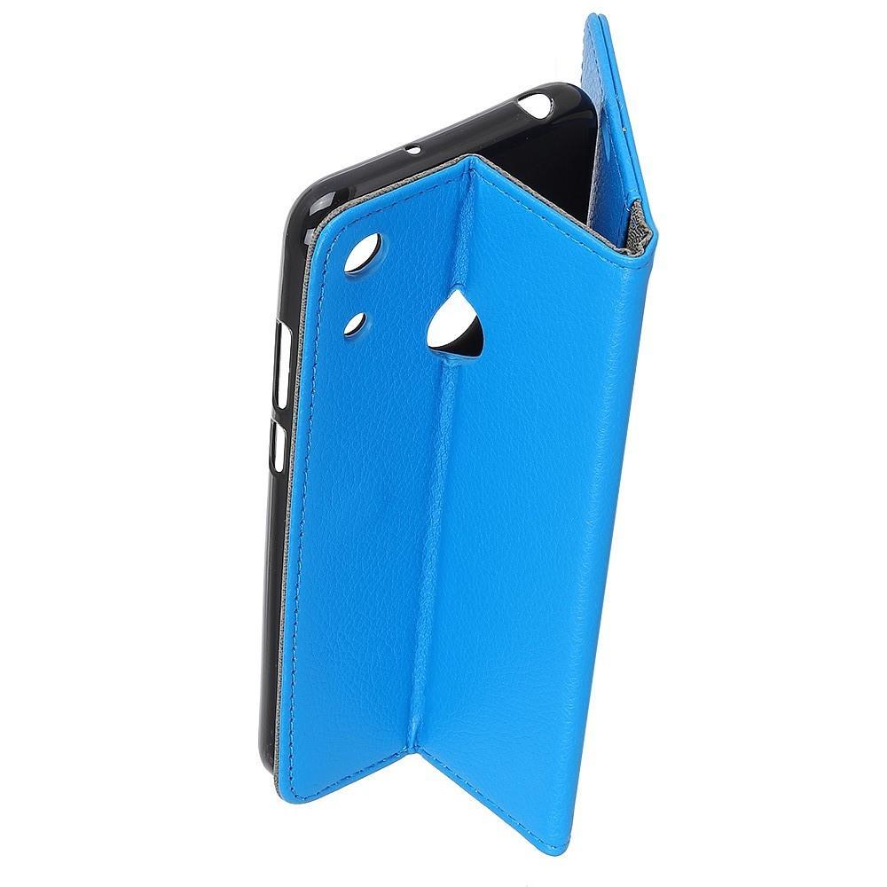 Чехол Книжка из Гладкой Искусственной Кожи для Huawei Honor 8A с Кошельком для Карты Голубой