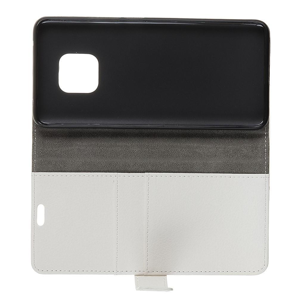 Чехол Книжка из Гладкой Искусственной Кожи для Huawei Mate 20 Pro с Кошельком для Карты Белый