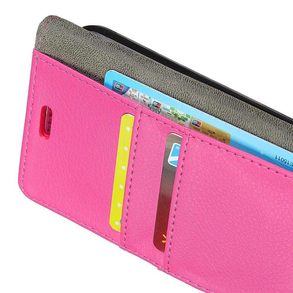 Чехол Книжка из Гладкой Искусственной Кожи для Huawei Mate 20 Pro с Кошельком для Карты Розовый