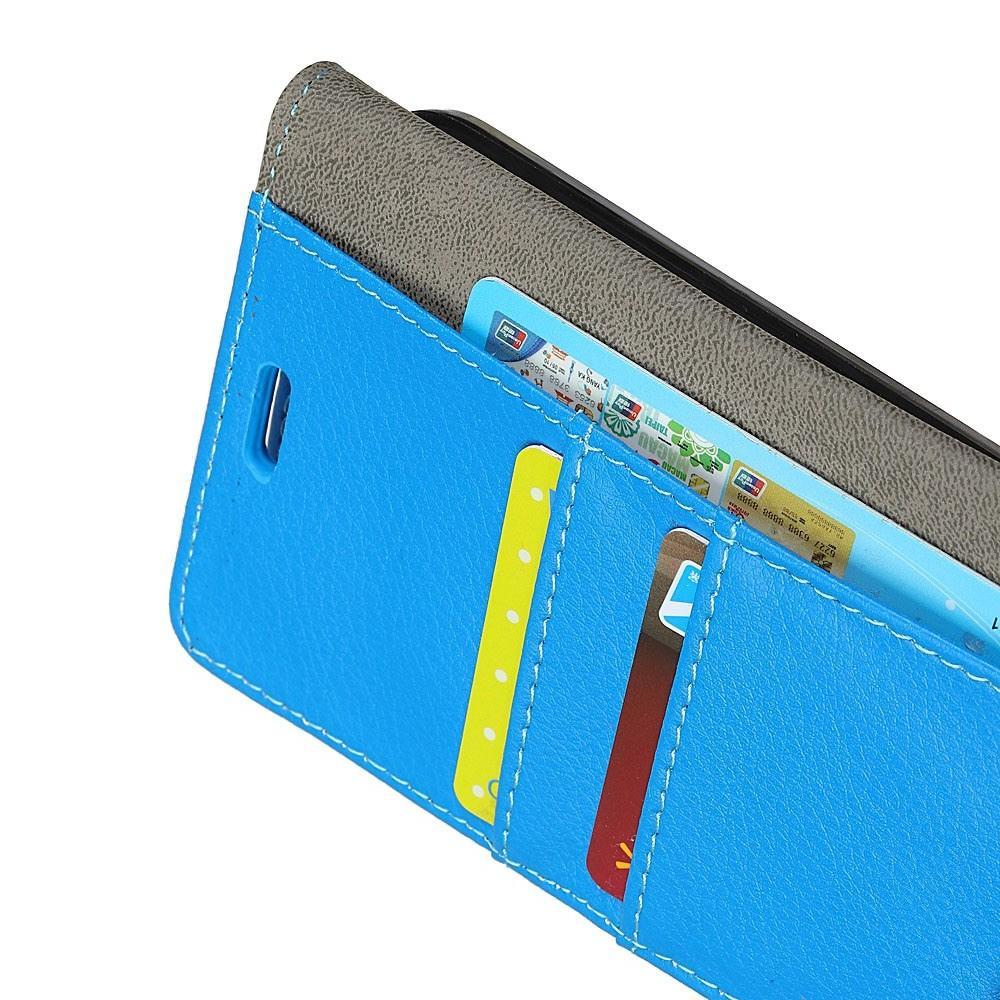 Чехол Книжка из Гладкой Искусственной Кожи для Huawei Mate 20 Pro с Кошельком для Карты Голубой