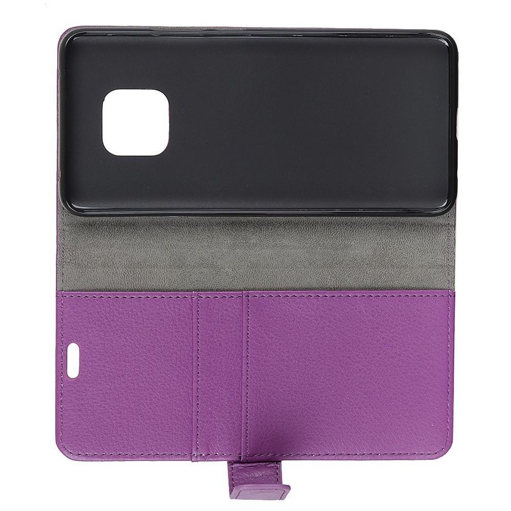 Чехол Книжка из Гладкой Искусственной Кожи для Huawei Mate 20 Pro с Кошельком для Карты Фиолетовый