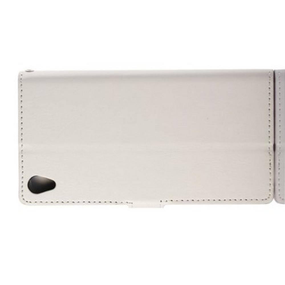 Чехол Книжка из Гладкой Искусственной Кожи для Sony Xperia Z3 с Кошельком для Карты Белый