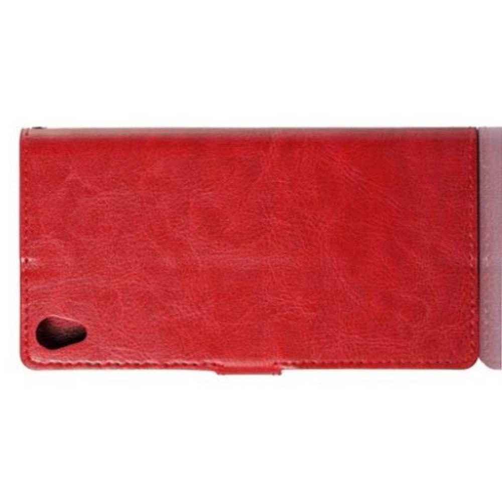 Чехол Книжка из Гладкой Искусственной Кожи для Sony Xperia Z3 с Кошельком для Карты Красный