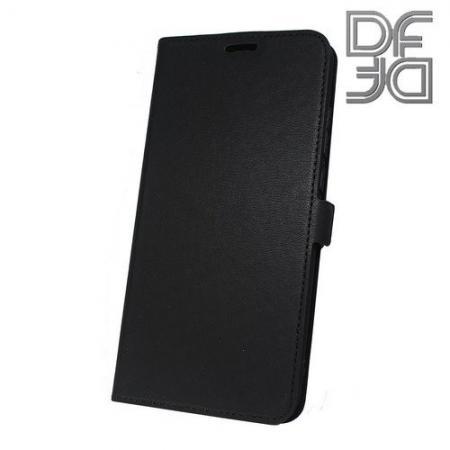 Горизонтальный Искусственно Кожаный Премиум DF Флип Чехол Книжка для Huawei Honor 8X с Боковой Магнитной Застежкой Черный