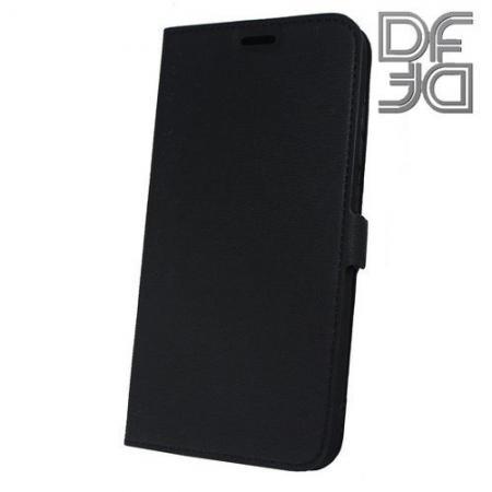 Горизонтальный Искусственно Кожаный Премиум DF Флип Чехол Книжка для Xiaomi Mi 8 с Боковой Магнитной Застежкой Черный