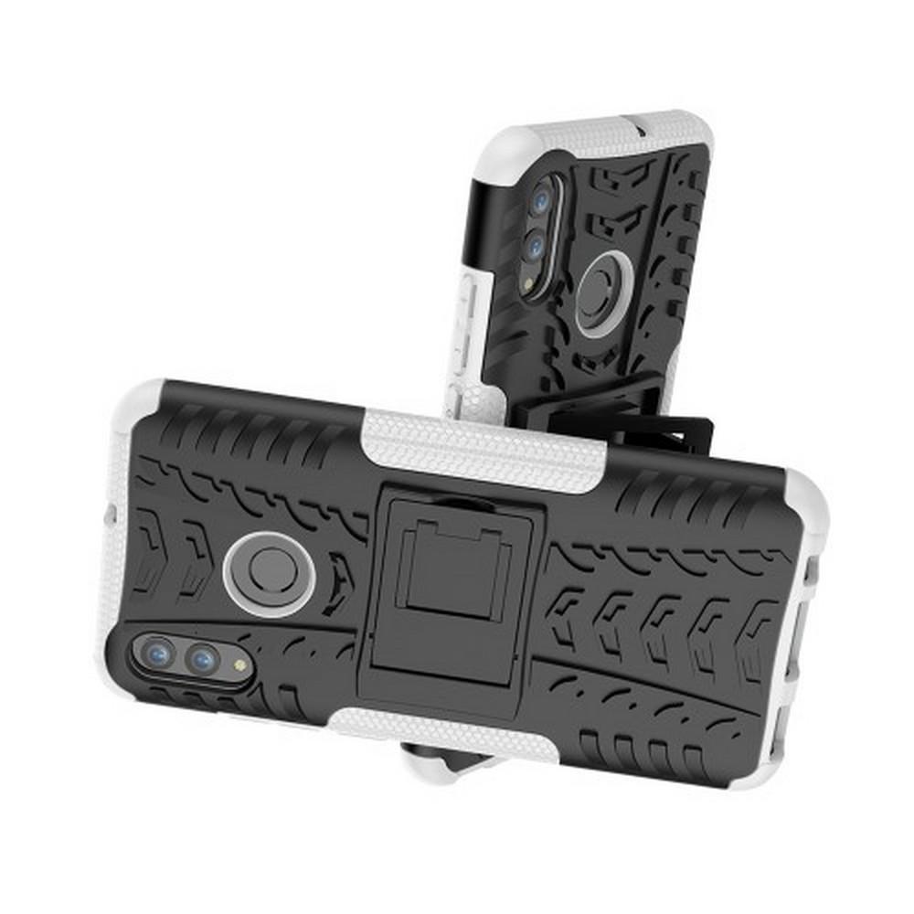 Двухкомпонентный Противоскользящий Гибридный Противоударный Чехол для Huawei Honor 10 Lite с Подставкой Белый
