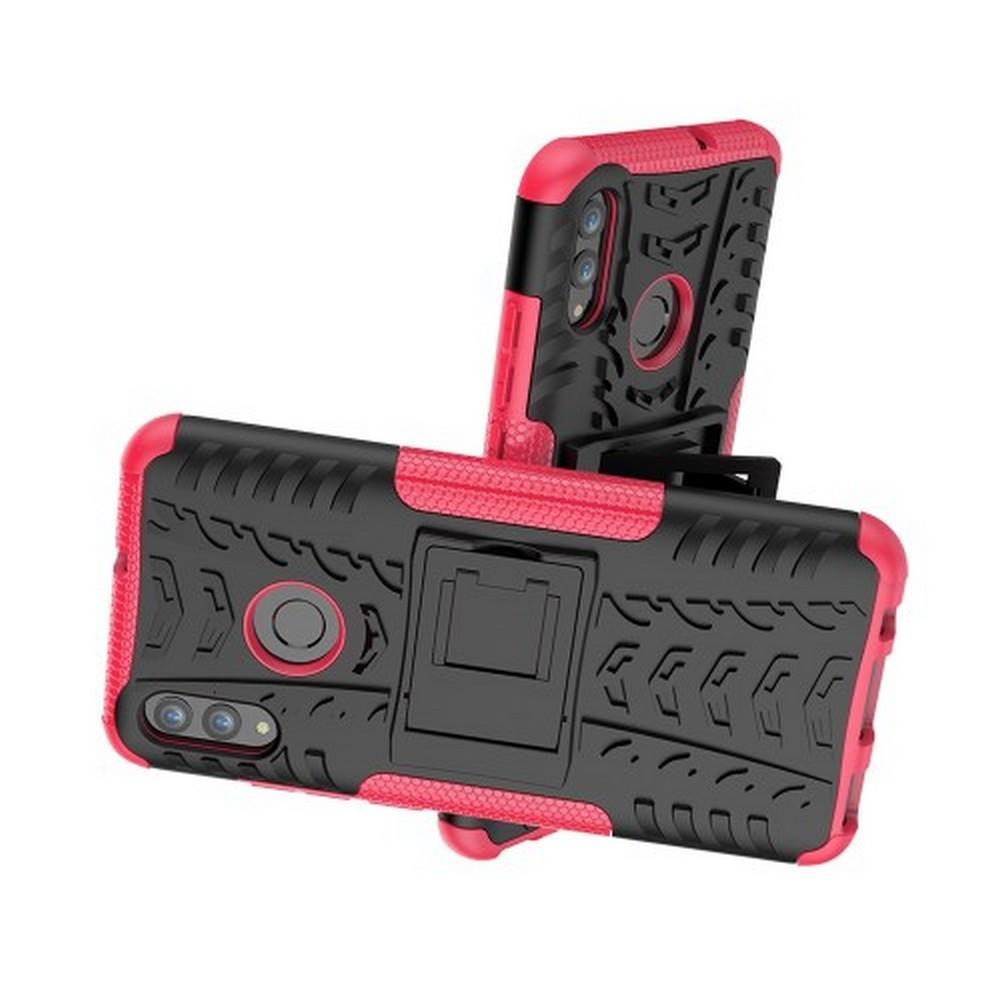 Двухкомпонентный Противоскользящий Гибридный Противоударный Чехол для Huawei Honor 10 Lite с Подставкой Розовый
