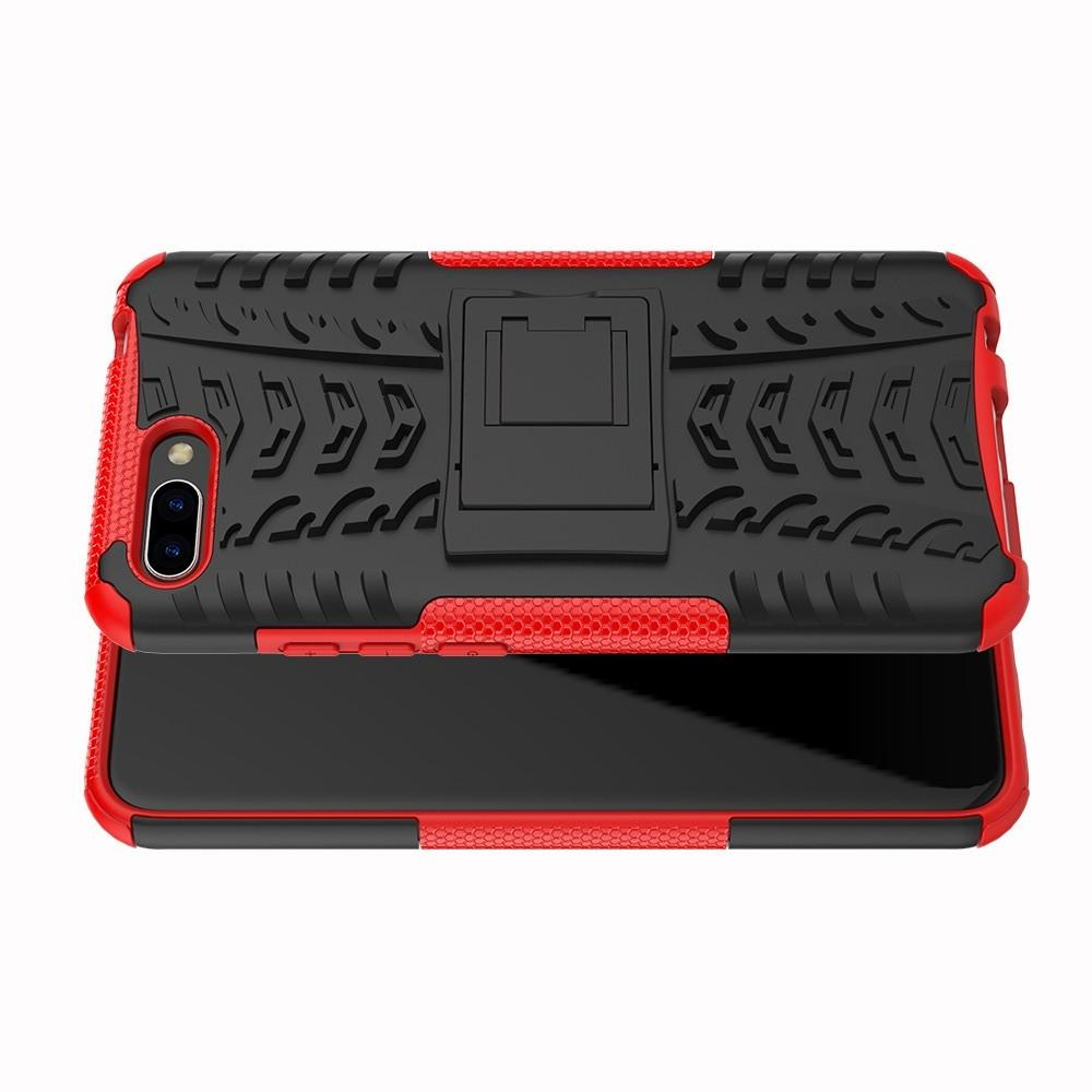 Двухкомпонентный Противоскользящий Гибридный Противоударный Чехол для Huawei Honor 10 с Подставкой Красный