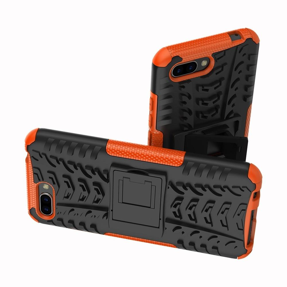 Двухкомпонентный Противоскользящий Гибридный Противоударный Чехол для Huawei Honor 10 с Подставкой Оранжевый