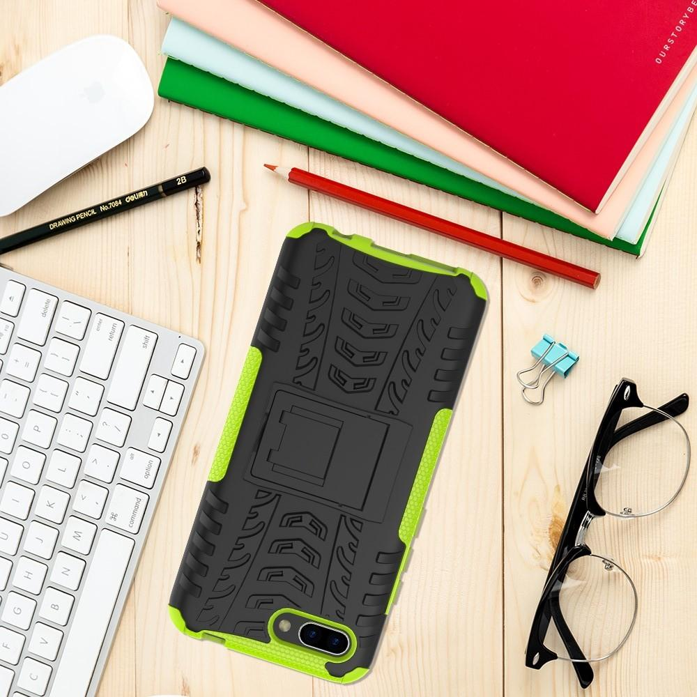 Двухкомпонентный Противоскользящий Гибридный Противоударный Чехол для Huawei Honor 10 с Подставкой Зеленый
