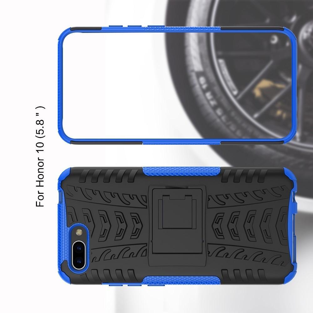 Двухкомпонентный Противоскользящий Гибридный Противоударный Чехол для Huawei Honor 10 с Подставкой Синий