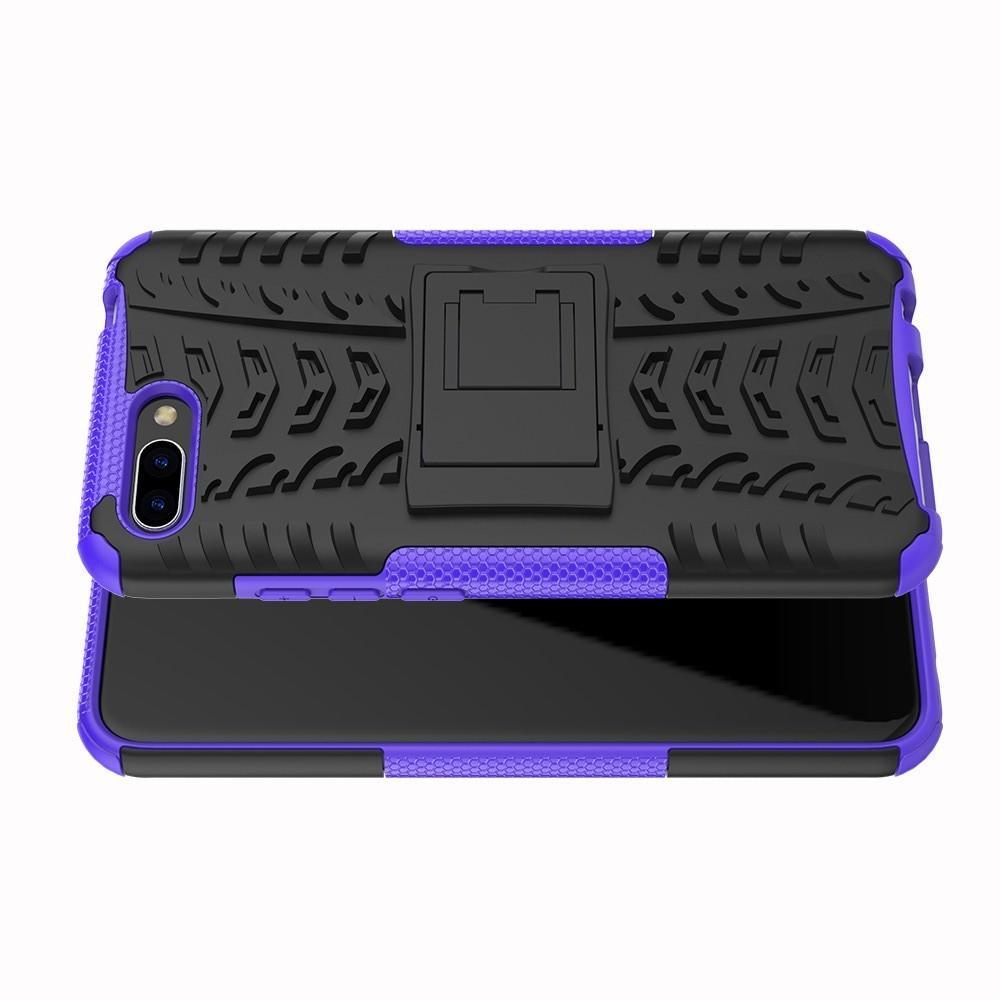 Двухкомпонентный Противоскользящий Гибридный Противоударный Чехол для Huawei Honor 10 с Подставкой Фиолетовый