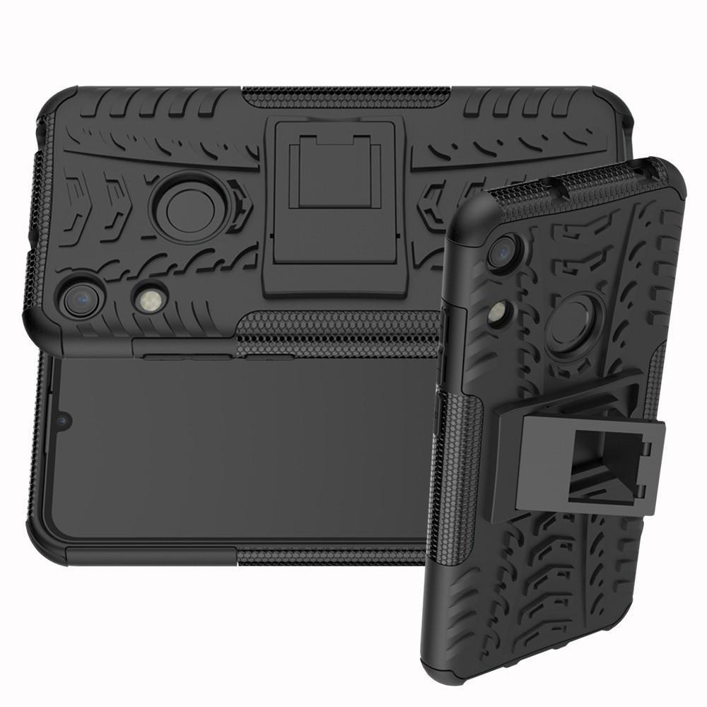 Двухкомпонентный Противоскользящий Гибридный Противоударный Чехол для Huawei Honor 8A с Подставкой Черный