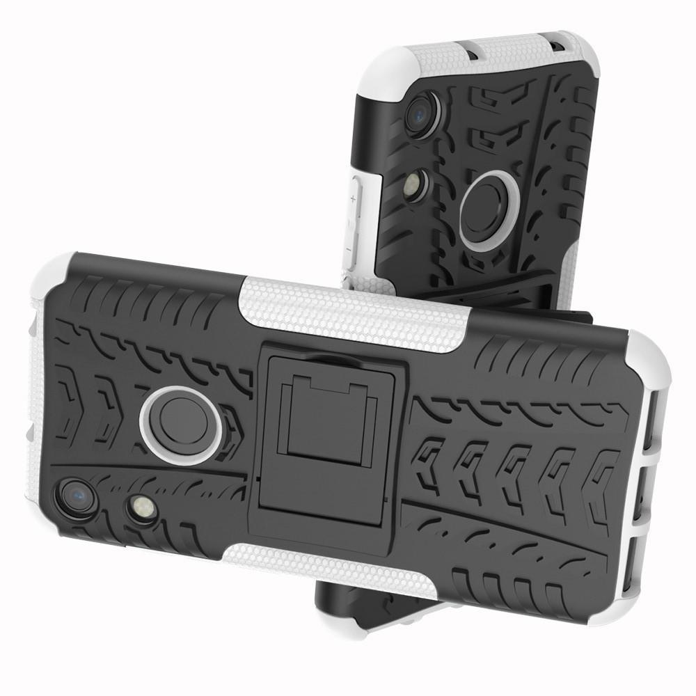 Двухкомпонентный Противоскользящий Гибридный Противоударный Чехол для Huawei Honor 8A с Подставкой Белый