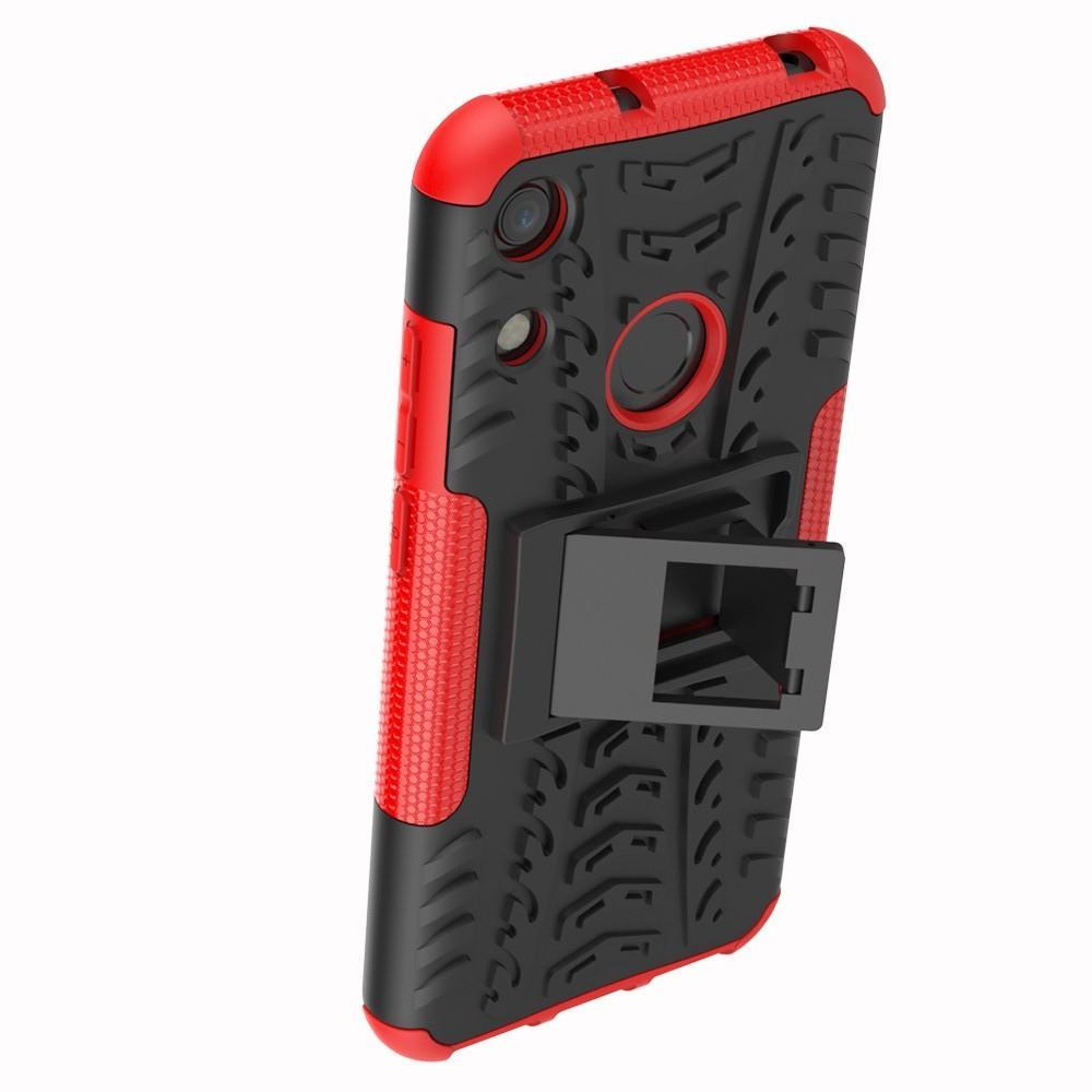 Двухкомпонентный Противоскользящий Гибридный Противоударный Чехол для Huawei Honor 8A с Подставкой Красный