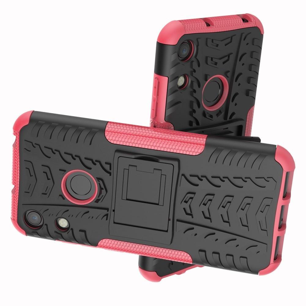 Двухкомпонентный Противоскользящий Гибридный Противоударный Чехол для Huawei Honor 8A с Подставкой Розовый