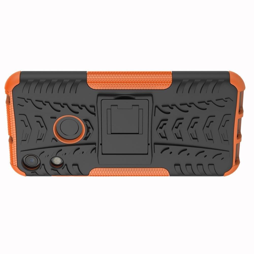 Двухкомпонентный Противоскользящий Гибридный Противоударный Чехол для Huawei Honor 8A с Подставкой Оранжевый