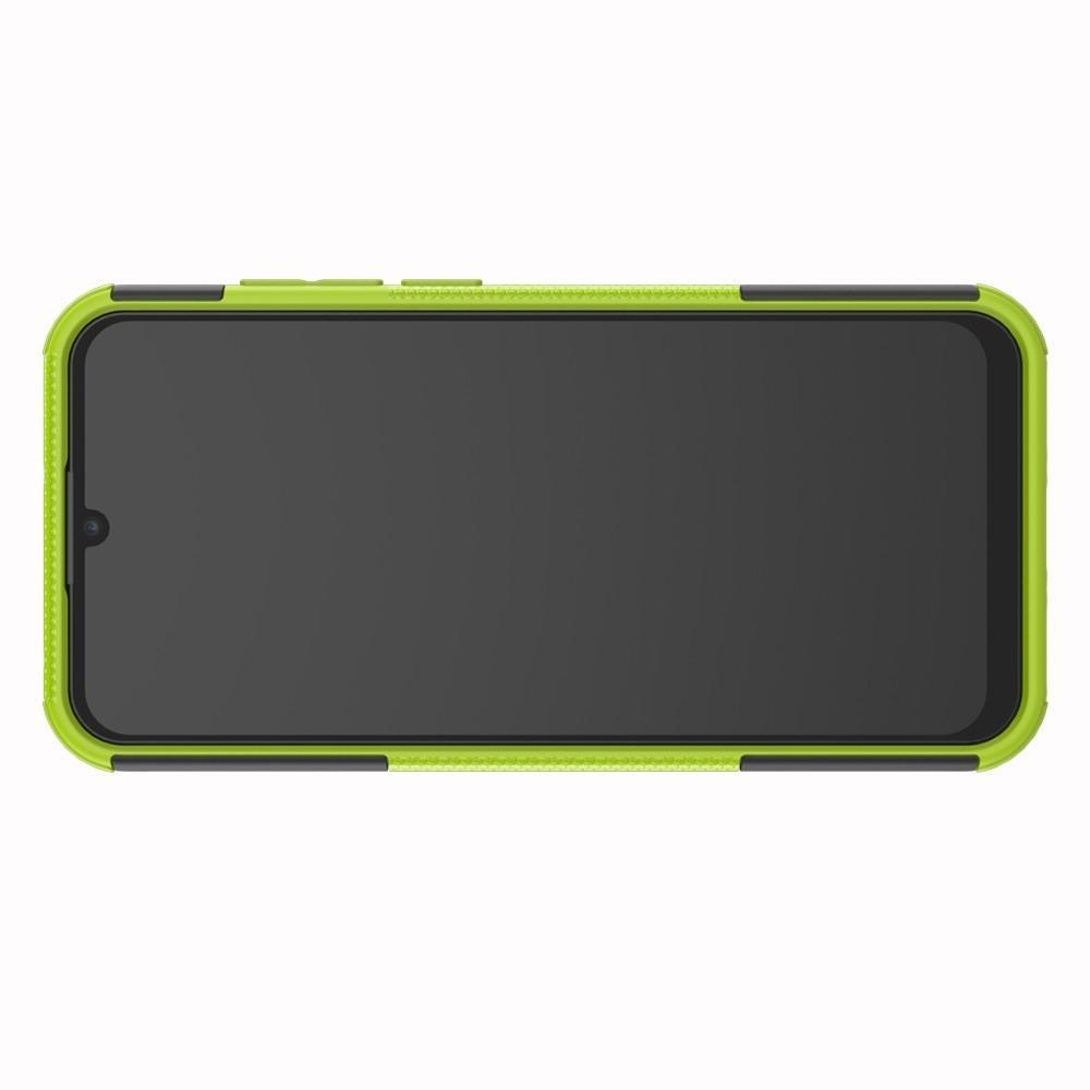 Двухкомпонентный Противоскользящий Гибридный Противоударный Чехол для Huawei Honor 8A с Подставкой Зеленый