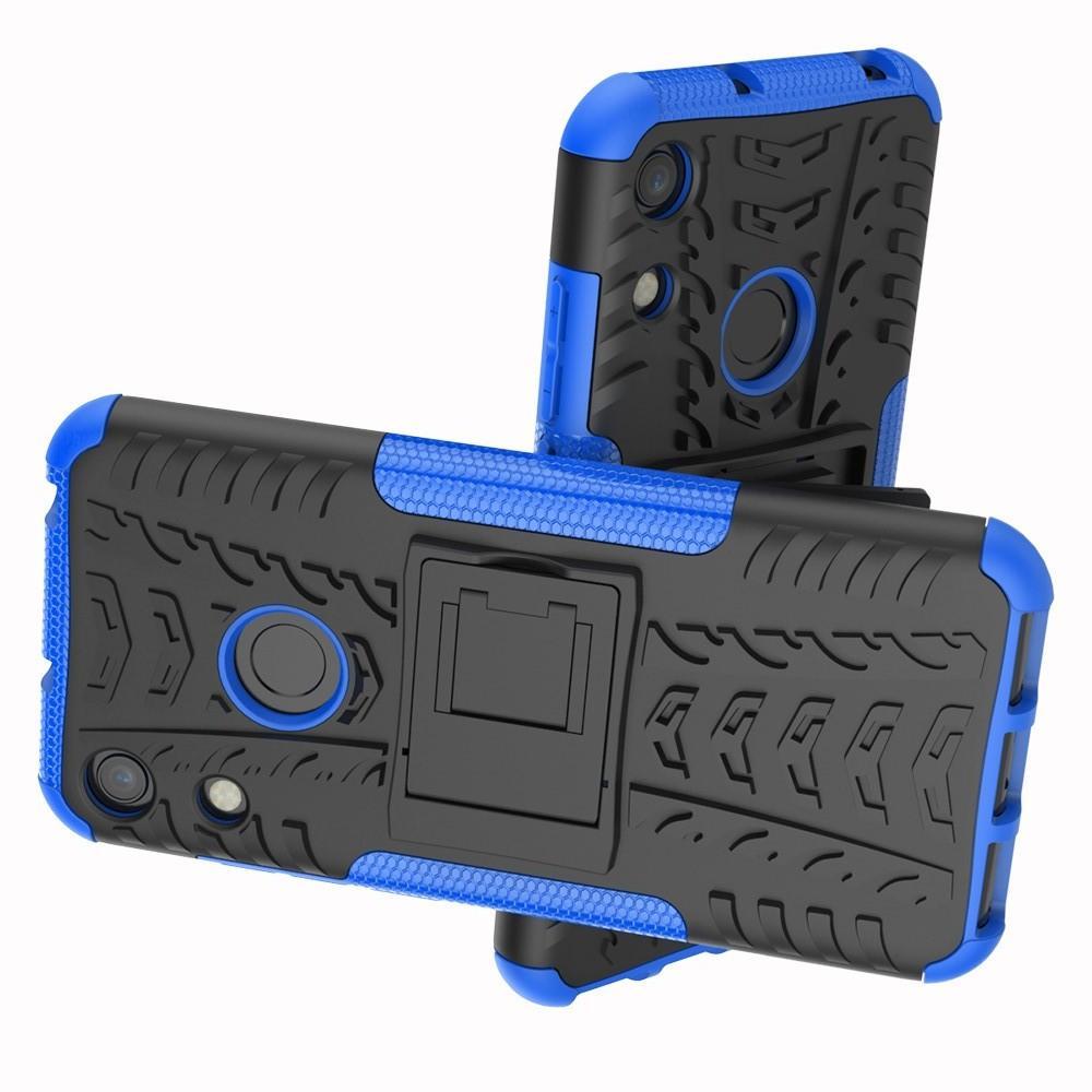 Двухкомпонентный Противоскользящий Гибридный Противоударный Чехол для Huawei Honor 8A с Подставкой Синий