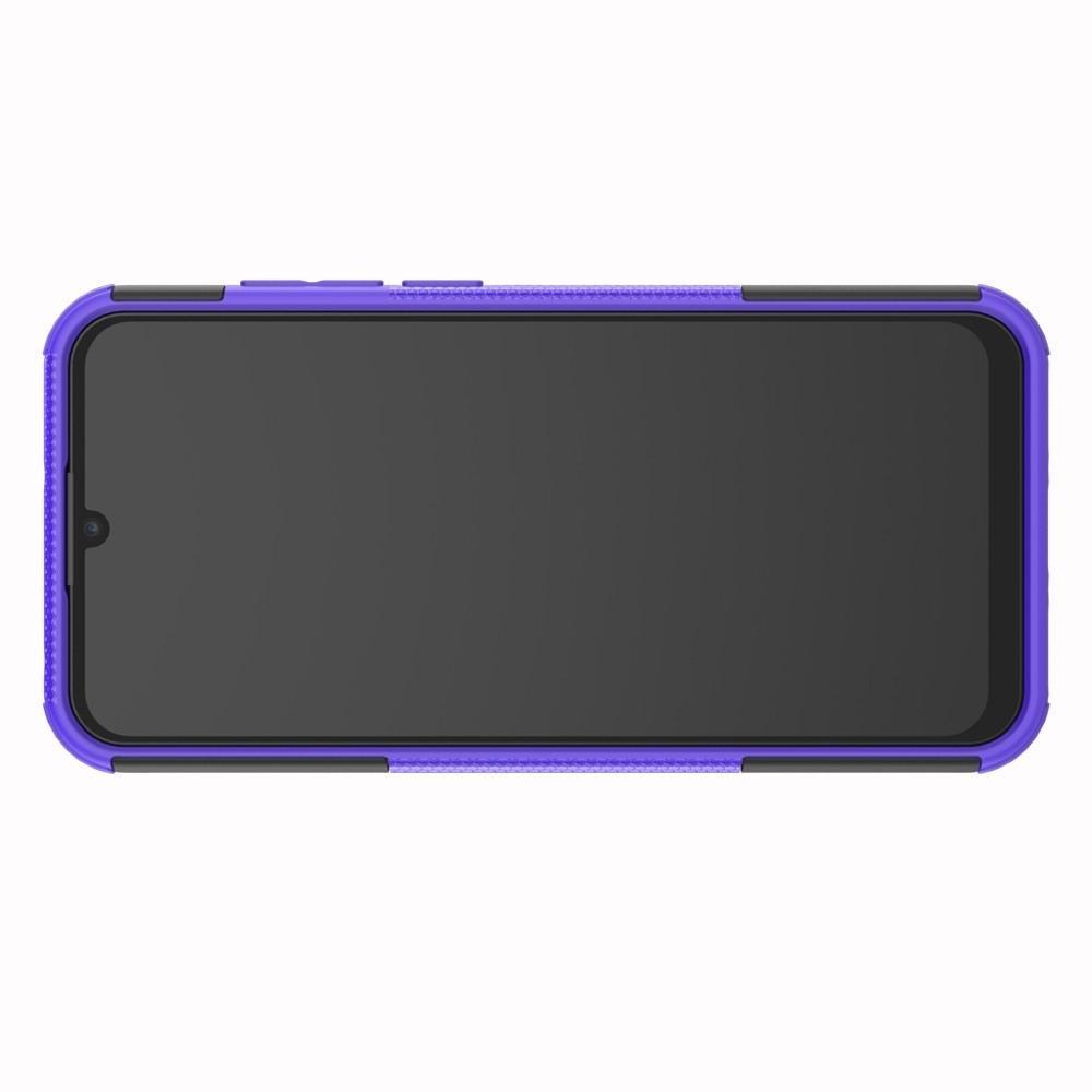 Двухкомпонентный Противоскользящий Гибридный Противоударный Чехол для Huawei Honor 8A с Подставкой Фиолетовый