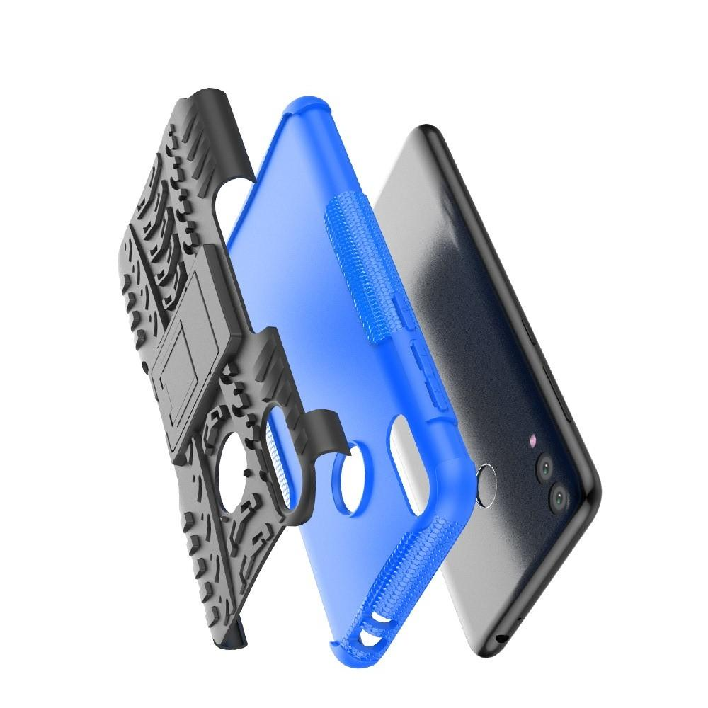 Двухкомпонентный Противоскользящий Гибридный Противоударный Чехол для Huawei Honor 8C с Подставкой Синий