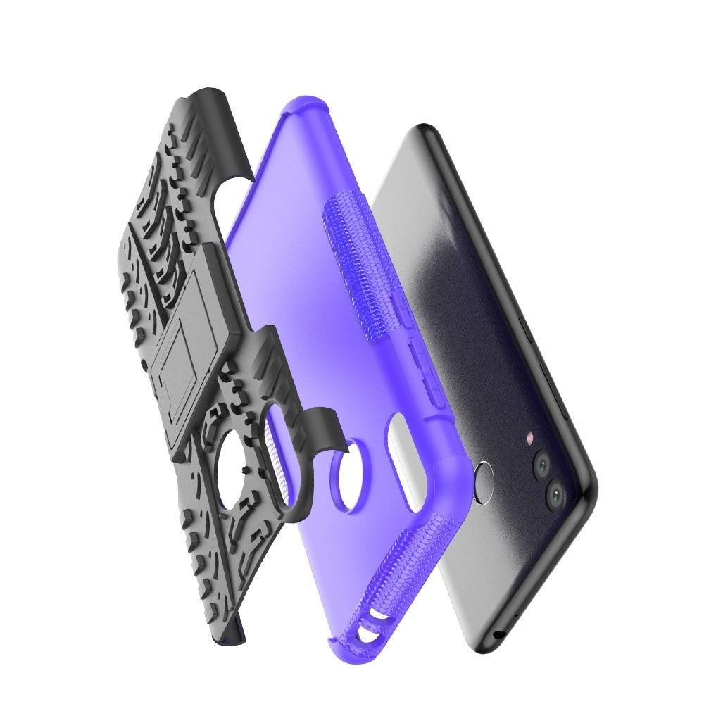 Двухкомпонентный Противоскользящий Гибридный Противоударный Чехол для Huawei Honor 8C с Подставкой Фиолетовый