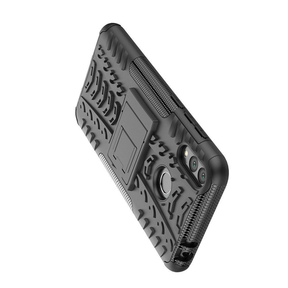 Двухкомпонентный Противоскользящий Гибридный Противоударный Чехол для Huawei Honor 8C с Подставкой Черный