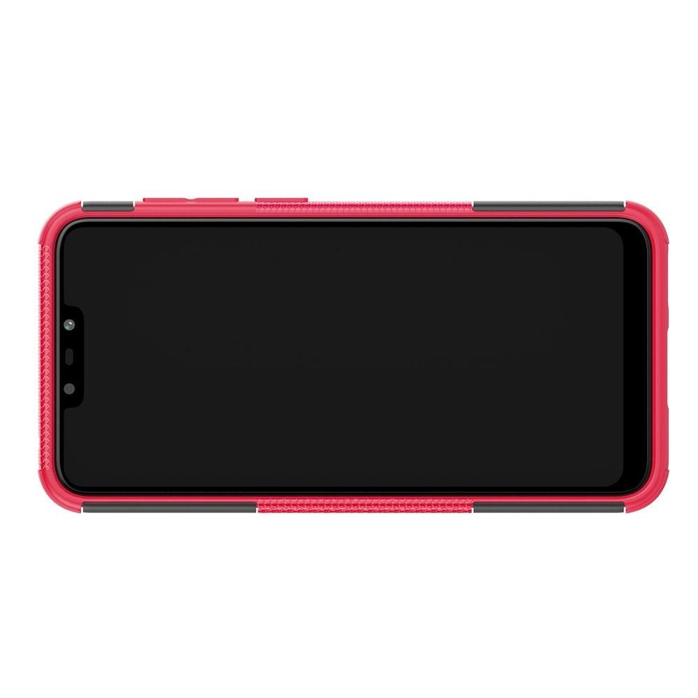 Двухкомпонентный Противоскользящий Гибридный Противоударный Чехол для Huawei Honor 8C с Подставкой Розовый